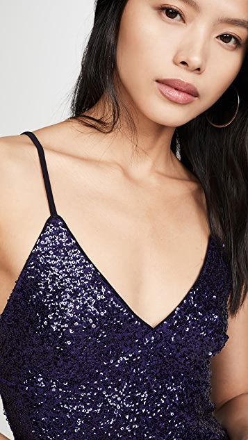 Norma Kamali Overlapping Sequin Slip Dress