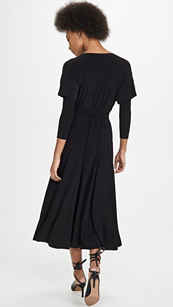 Norma Kamali Dolman Wrap Flared Dress
