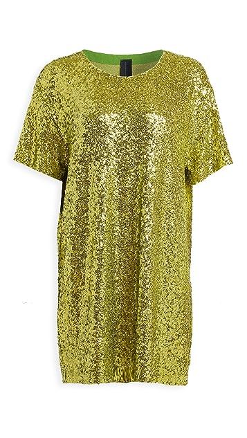 Norma Kamali 重叠亮片宽松连衣裙
