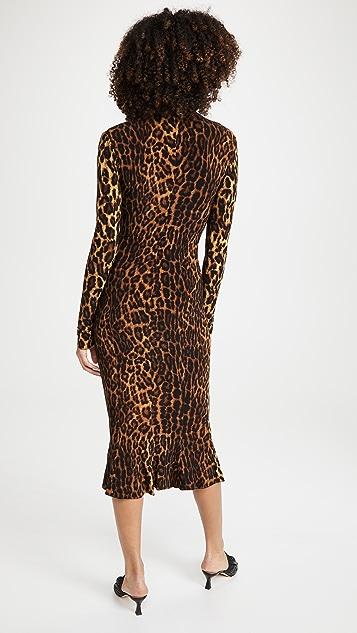 Norma Kamali 长袖高领鱼尾连衣裙