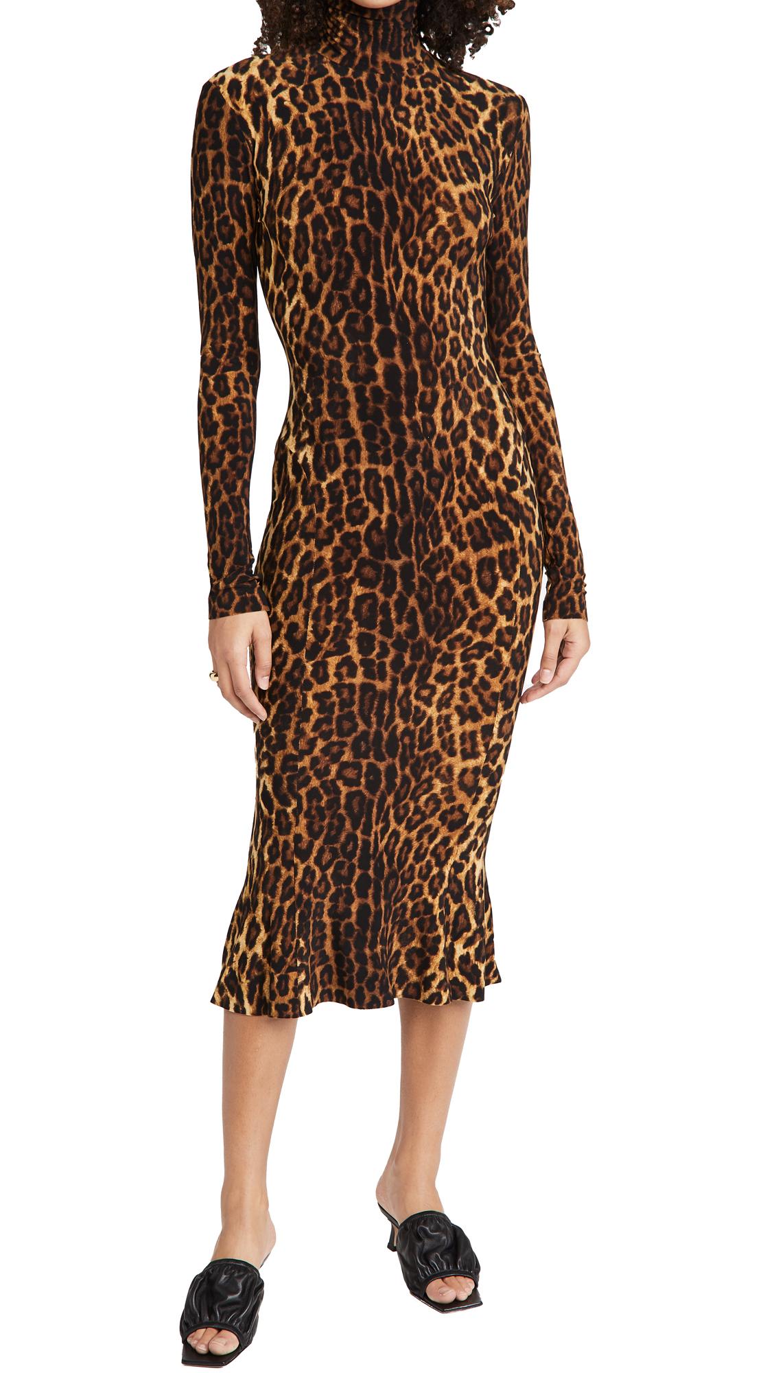 Norma Kamali Long Sleeve Turtleneck Fishtail Dress