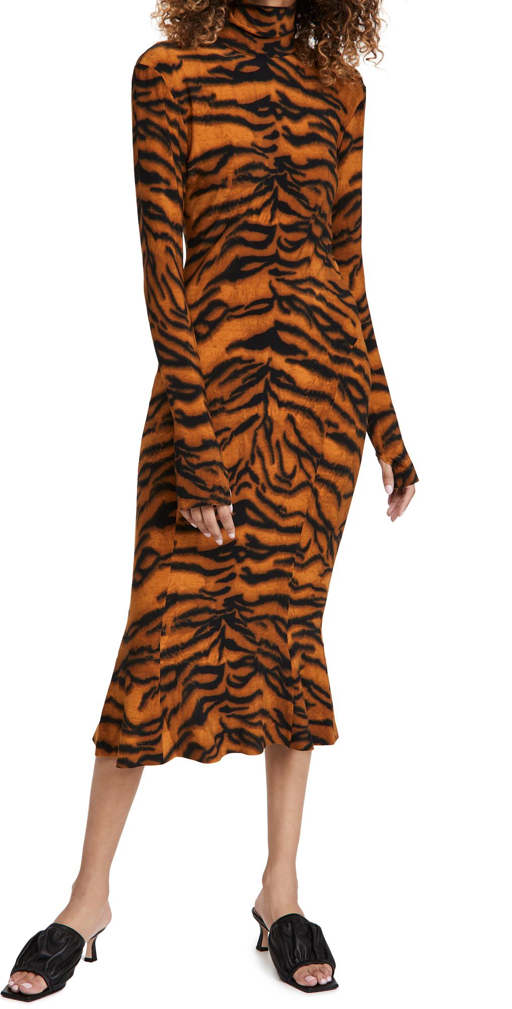 Norma Kamali Long Sleeve Turtle Fishtail Dress