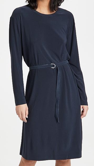Norma Kamali Kamali Kulture Go Long Sleeve Crew Neck Dress