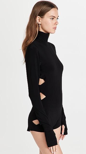 Norma Kamali Long Sleeve Alligator Turtle Bodysuit