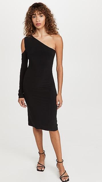Norma Kamali One Shoulder One Sleeve Dress