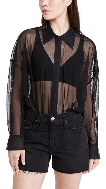 Norma Kamali Super Oversized Boyfriend Shirt Bodysuit