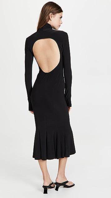 Norma Kamali Turtle Open Back Fishtail Dress
