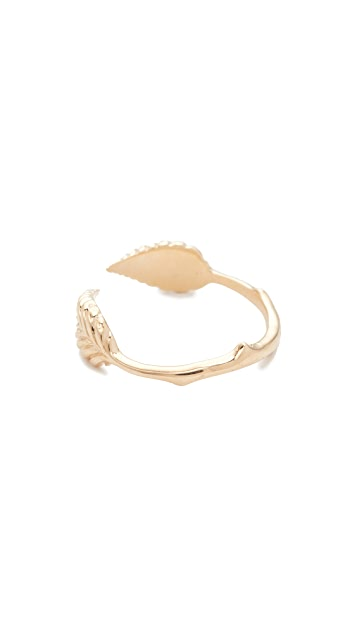 Nora Kogan 10k Gold Double Leaf Ring