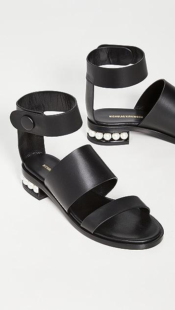 Nicholas Kirkwood 三重束带 25mm 凉鞋