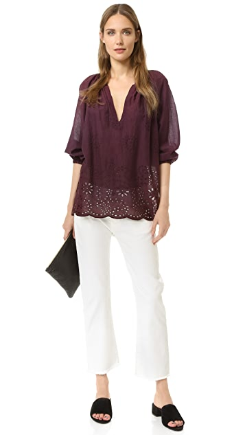 Nili Lotan Embroidered Saint Tropez Blouse