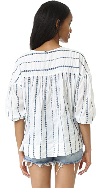 Nili Lotan Embroidered Stripe Provence Blouse