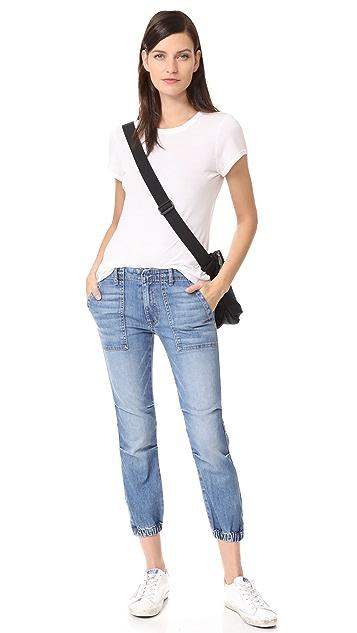 Nili Lotan Укороченные джинсы в французском стиле милитари