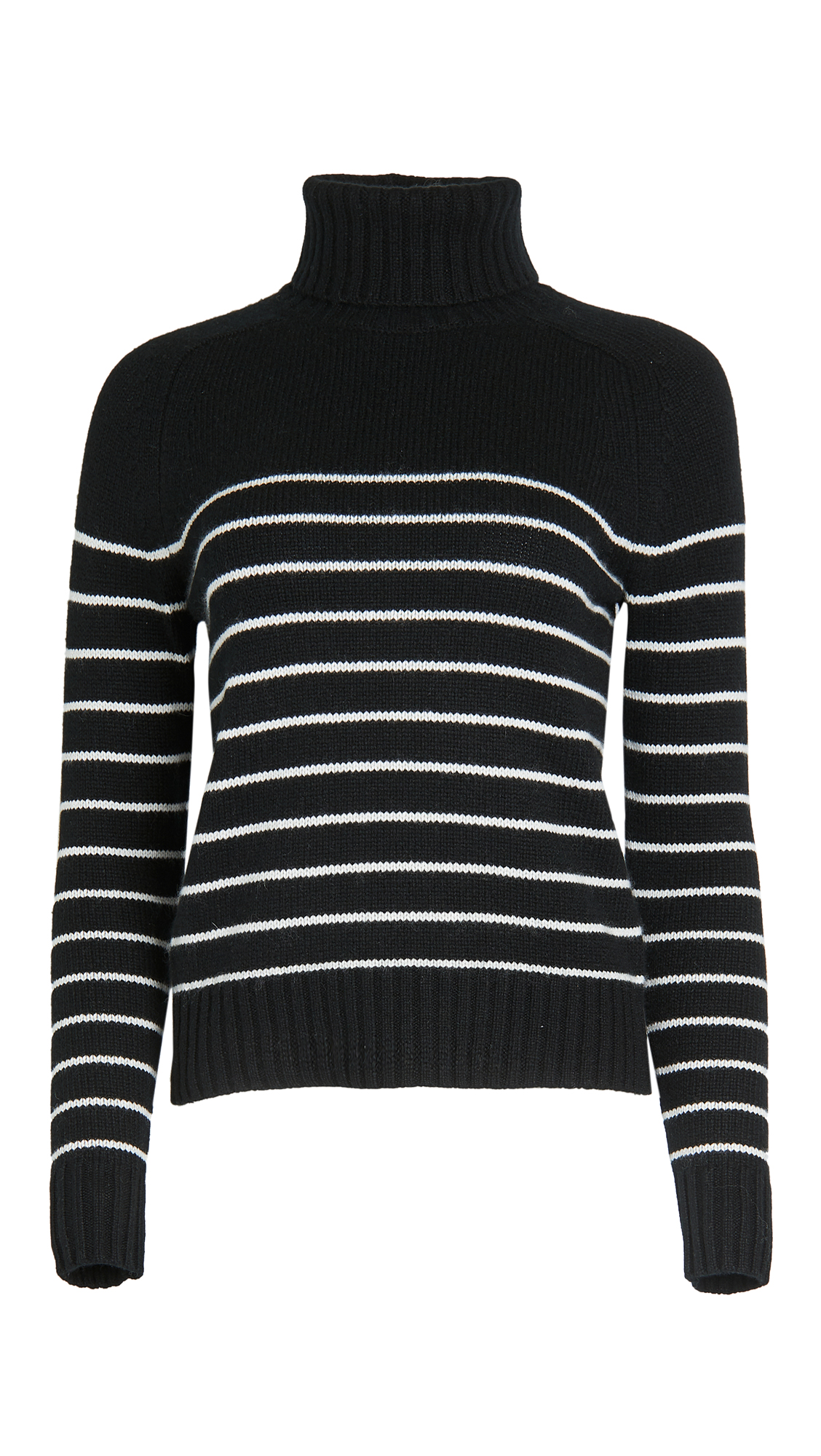 Nili Lotan Molly Striped Cashmere Turtleneck Sweater In Black