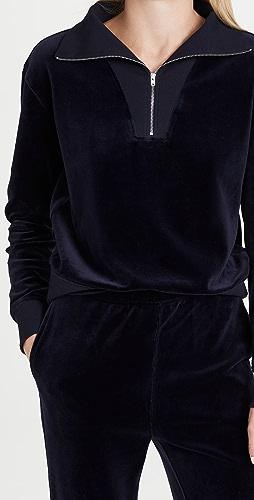 Nili Lotan - Bentley Velour Quarter Zip Sweatshirt
