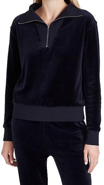 Nili Lotan Bentley Velour Quarter Zip Sweatshirt