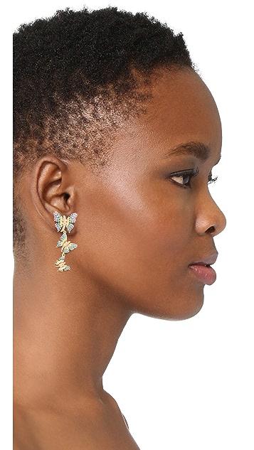Noir Jewelry Длинные серьги-капли с бабочками