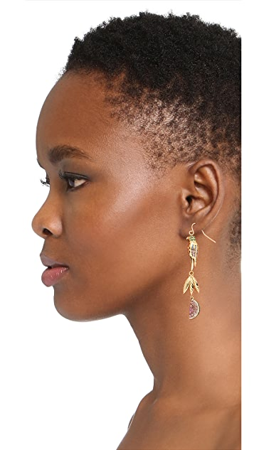 Noir Jewelry Tropical Linear Drop Earrings