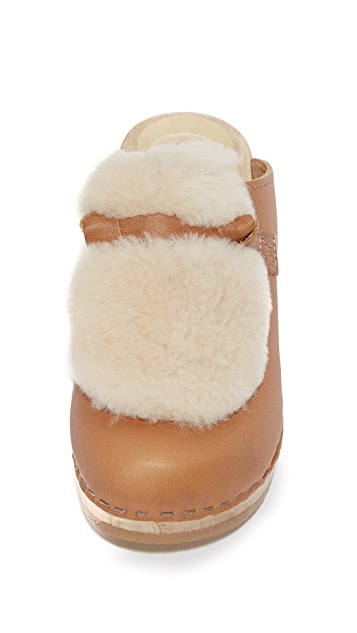 No.6 Fur Slide Clogs
