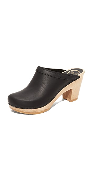 No.6 Old School High Heel Clogs - Black