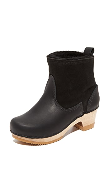 No.6 Pull On Shearling Booties - Black