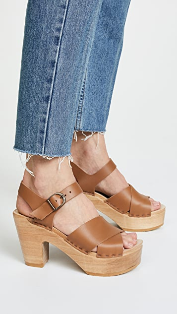 No.6 Coco Platform Sandals with Crisscross Straps
