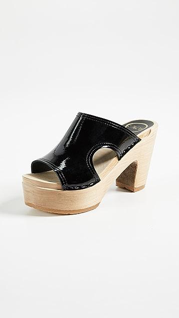 No.6 Alexis Cutout Platform Slides - Black