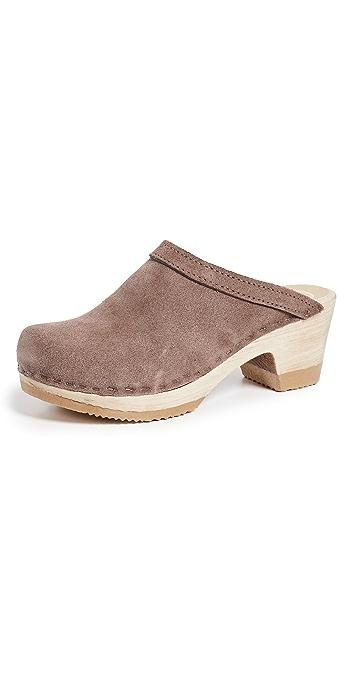 No.6 Old School Mid Heel Clog - Light Grey