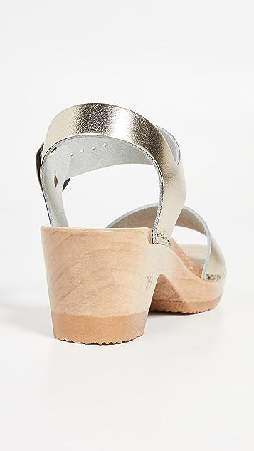 No.6 Сандалии-клоги на среднем каблуке с двумя ремешками