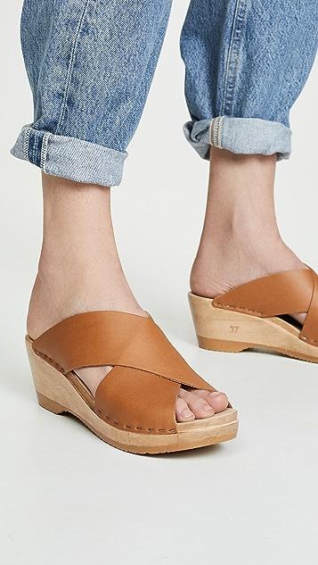 No.6 Frida 中号坡跟木底鞋