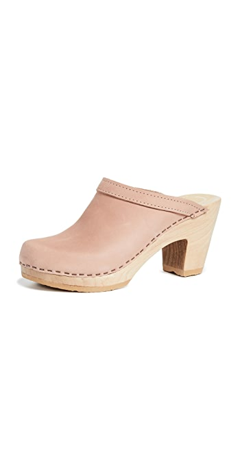No.6 Old School High Heel Clogs - Pink Sand