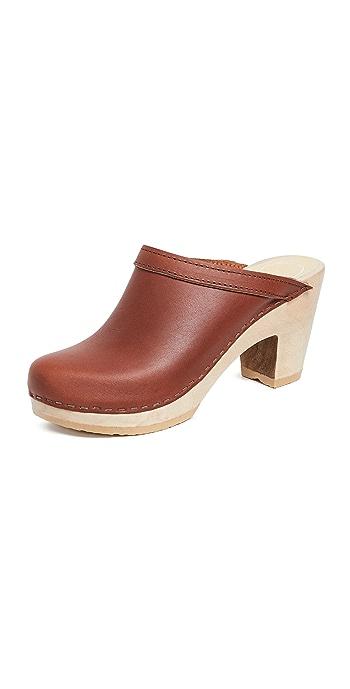 No.6 Old School High Heel Clogs - Bourbon