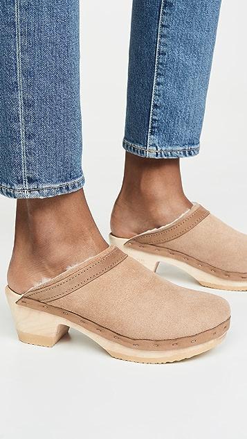 No.6 Dakota 连毛羊皮中跟木底鞋