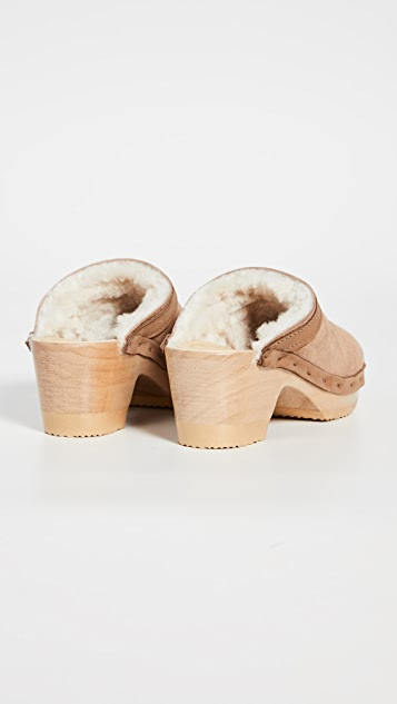 No.6 Dakota Shearling Mid Heel Clogs