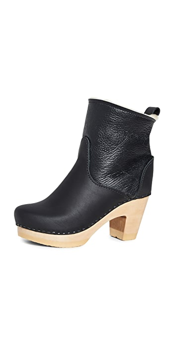 No.6 Pull On Shearling High Heel Boots - Ink Aviator