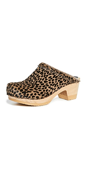No.6 Old School Mid Heel Clogs - Spotted Pony/Brown Base
