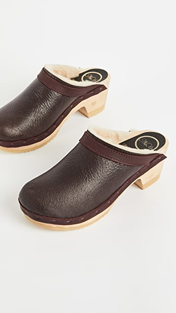 No.6 Dakota Shearling Mid Heel Clogs