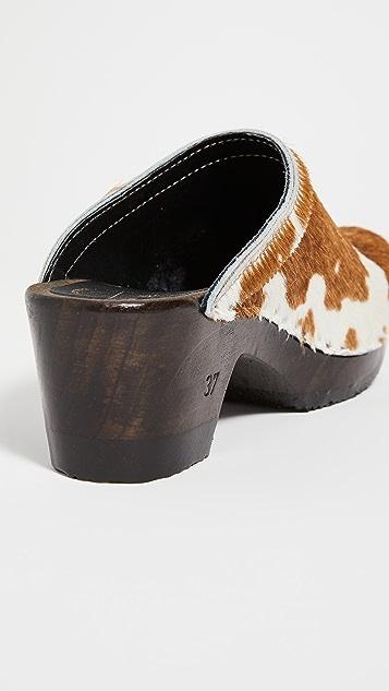 No.6 复古风格中跟木底鞋