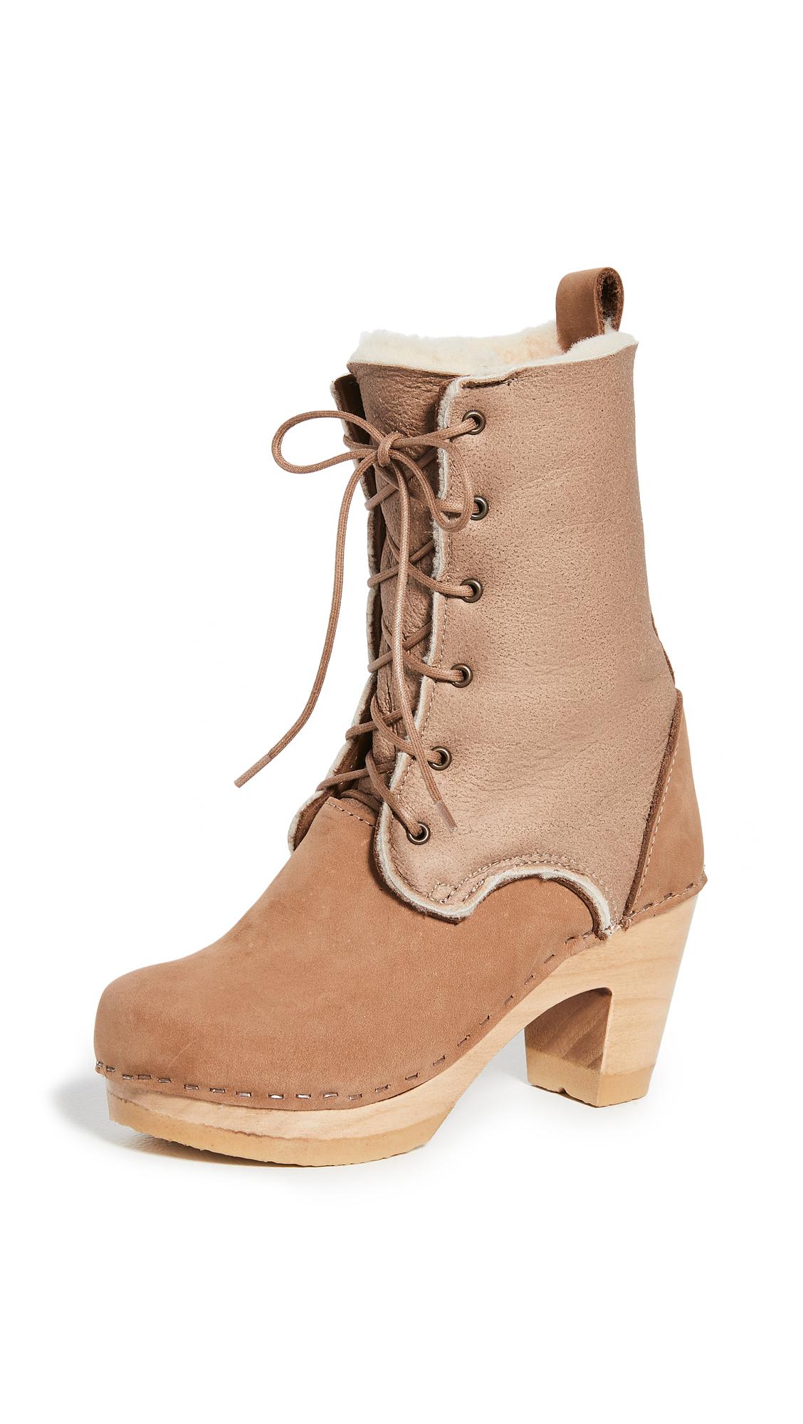 No.6 Fox Lace High Heel Shearling Boots