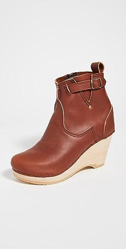 No.6 - 皮坡跟搭扣靴子