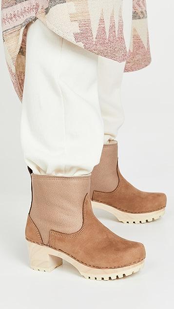 No.6 套穿式连毛羊皮中跟木底靴子