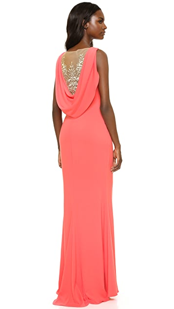 Marchesa Notte Crepe Gown with Cowl Back