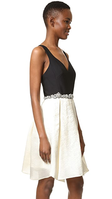 Marchesa Notte Sleeveless A Line Cocktail Dress with Beaded Waist
