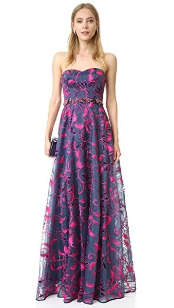 Marchesa Notte Embroidered Organza Gown