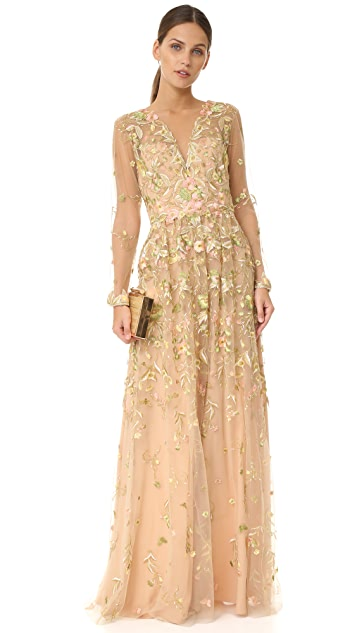 Marchesa Notte Embroidered Low V Gown