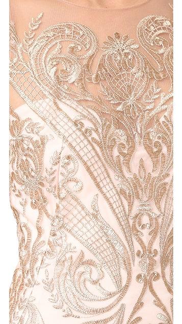 Marchesa Notte Embroidered Sheath Dress