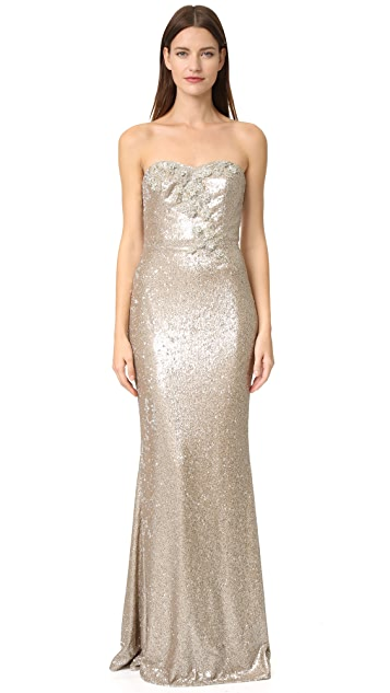 a818ec274fb Marchesa Notte Strapless Sequin Gown | SHOPBOP