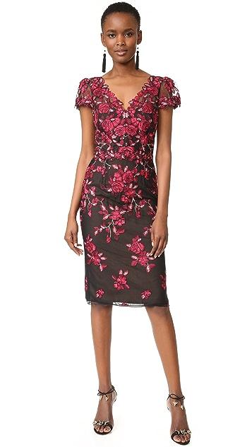 Marchesa Notte Threadwork Embroidered Sheath Dress