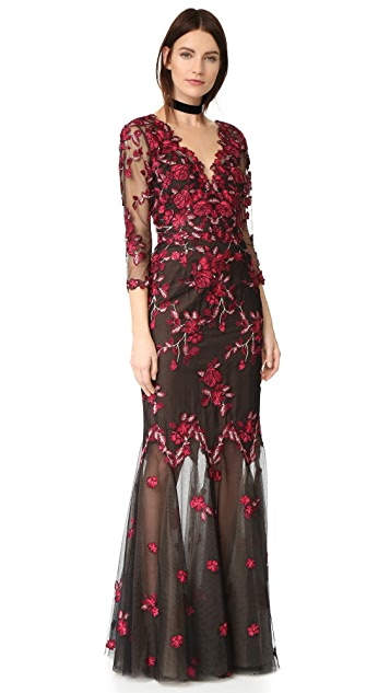 Marchesa Notte Threadwork Embroidered Gown