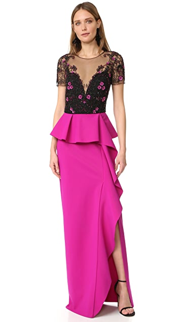 Marchesa Notte Draped Cap Sleeve Gown