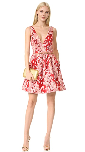 Marchesa Notte Sleeveless Leopard Cocktail Dress